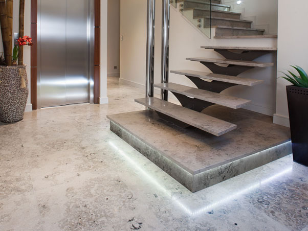 Jura Blue Limestone Staircase Treads Stone Stair Treads - Blue travertine natural stone tiles